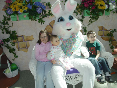 We saw the big bunny at the mall.