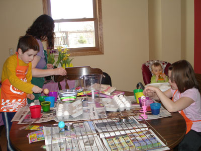 Decorating the eggs.